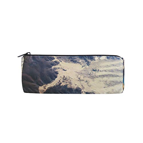 Pencil Case Desert Around Mountain Lake Zippered Pencil Box Round Stationery Bag Makeup Cosmetic Bag for Women/Students ()