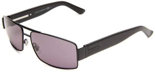 Gucci Men's 1923/S Rectangle Sunglasses,Matte Black & Shiny Black Frame/Dark Grey Lens,One - Rx Gucci Sunglasses