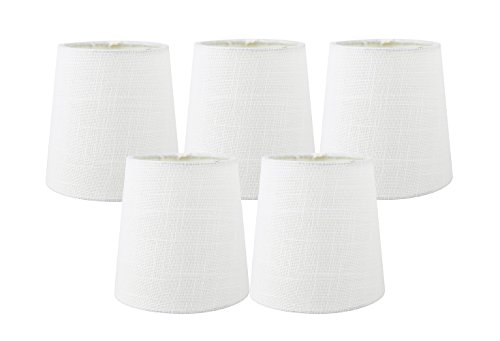 (Meriville Set of 5 Off White Linen Clip On Chandelier Lamp Shades, 4-inch by 5-inch by 5-inch)