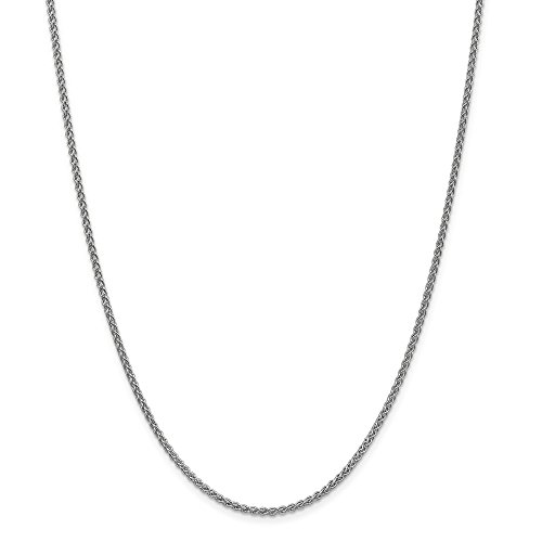 Designer Necklace Bismark - 14k White Gold 2.1mm Spiga Link Wheat Chain Necklace 20 Inch Pendant Charm Fine Jewelry Gifts For Women For Her