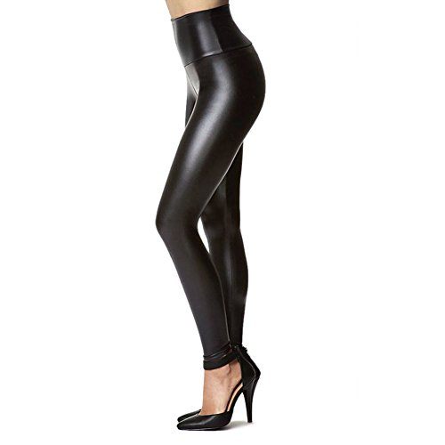 Leather Black Trendy - Tagoo Women's Stretchy Faux Leather Leggings Pants, Sexy Black High Waisted Tights (M(1-Pack) Fit Waist 28