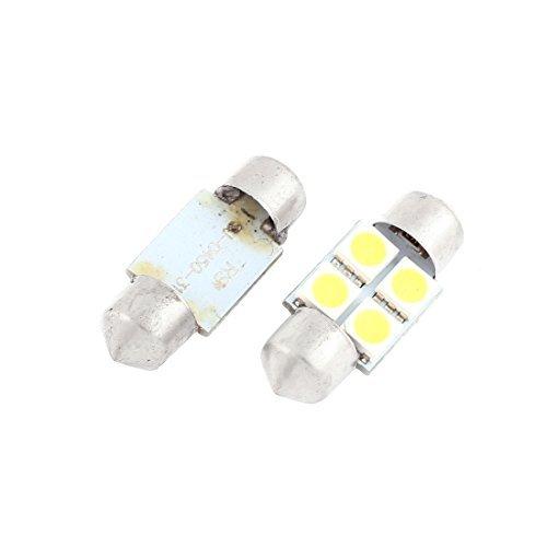 DealMux 4 Pcs 31mm 5050 White 4 LED Festoon Dome Map Light 3022 DE3021