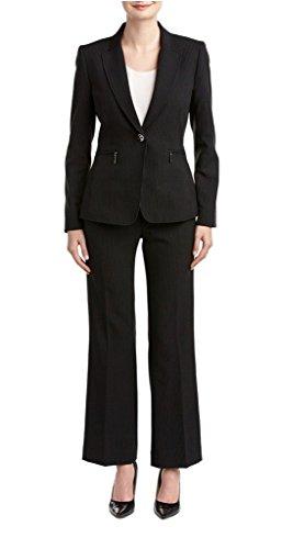 Tahari ASL Pamela Pant Suit, 6-P, Navy/White Pinstripe