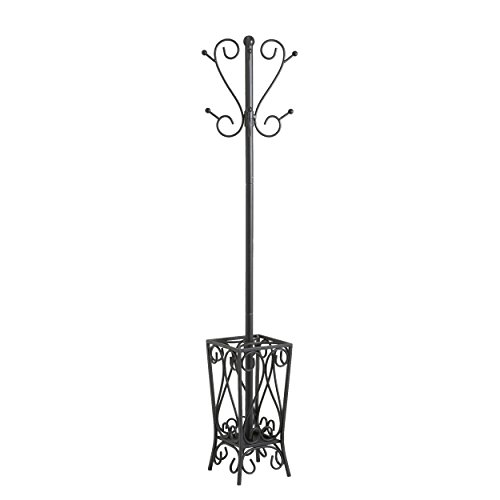 Freestanding Umbrella Stands (SEI Black Scrolled Metal Coat Rack and Umbrella Stand)