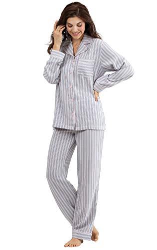 PajamaGram Ladies Pajamas Button Front - Pajamas Women, Blue/Pink, M, 8-10