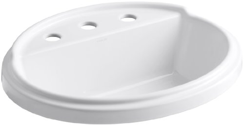 KOHLER K-2992-8-0 Tresham Oval Shaped Self-Rimming Bathroom Sink with 8-Inch Widespread Faucet Drilling, White