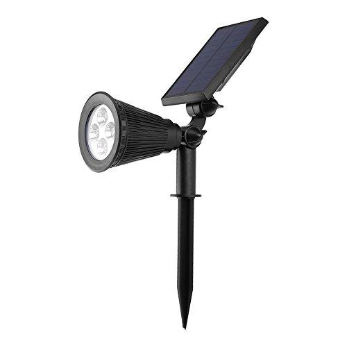 Fdit 4LED Lawn Light Landscape Spotlight Outdoor Solar Powered Plug Light Sensor Lamp for Garden Pathway Courtyard Waterproof(Warm White-2W) by Fdit