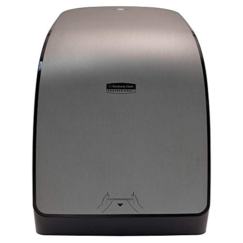 """Kimberly Clark Professional MOD Electronic Hard Roll Towel Dispenser (29739), for Green Core MOD Paper Towel Rolls, 12.66"""" x 16.44"""" x 9.18"""", Faux Stainless, 1 / Case"""