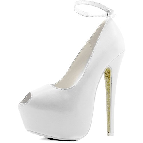 Womens Extreme High Fashion Ankle Strap Peep Toe Hidden Platform Sexy Stiletto High Heel Pump Shoes WhitePU-09