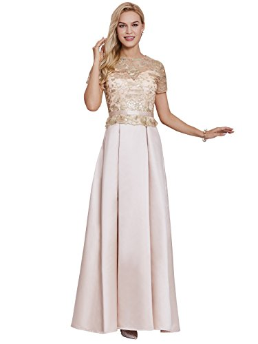 Sisjuly Women's Short Sleeve Embroidery Prom A-line Matte Satin Evening Dress 4 Champagne ()