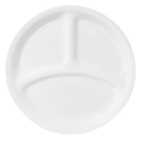 Corelle Livingware 8-1/2-Inch Divided Dish, Winter Frost White (6)
