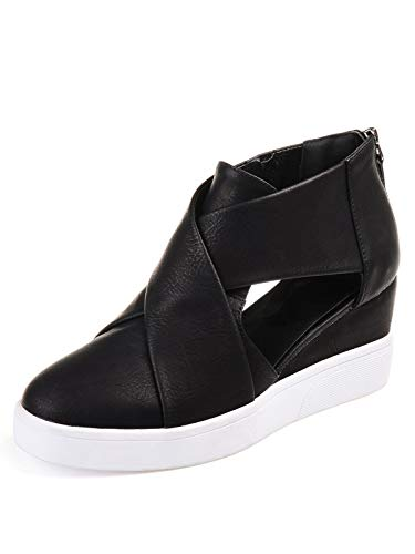 DecoStain Women's Concise Criss-Cross Cut-Out Wedge Sneakers Plus Size Back Zipper Shoes ()