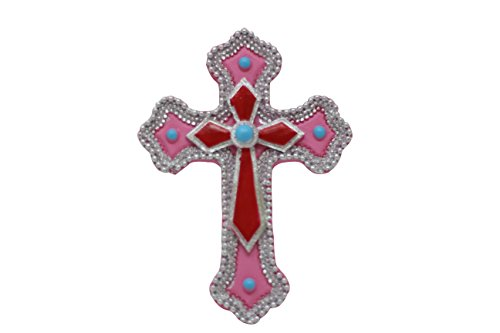 Italian Personalized Cross - Pine Ridge Double Magnetic Pink and Red Cross Home Decor Religious Light-Weight Polyresin Made Wall Decorative