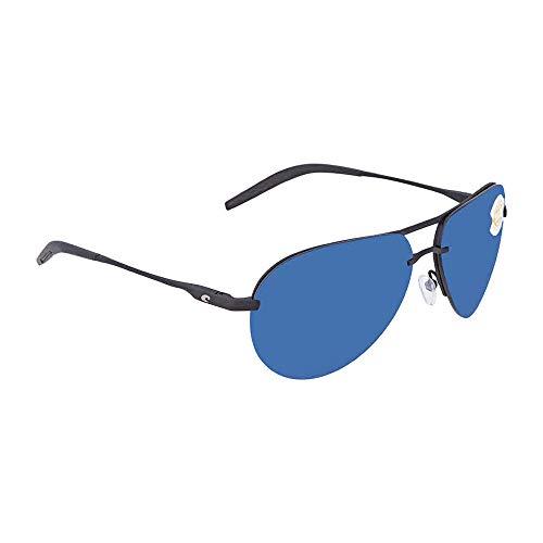 Costa Helo Sunglasses Matte Black Frame-Blue Mirror 580 Poly Polarized -