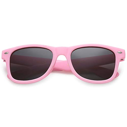 Polarspex Kids Children Boys and Girls Super Comfortable Polarized Sunglasses (Rubberized Bubble Gum Pink | Polarized Smoke, ()