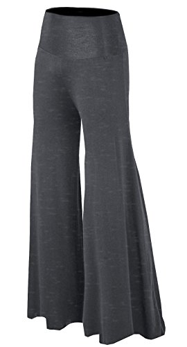Urban CoCo Women's High Waisted Solid Color Wide Leg Palazzo Gaucho Pants (Small, Grey) (Wide Leg Career Pant)
