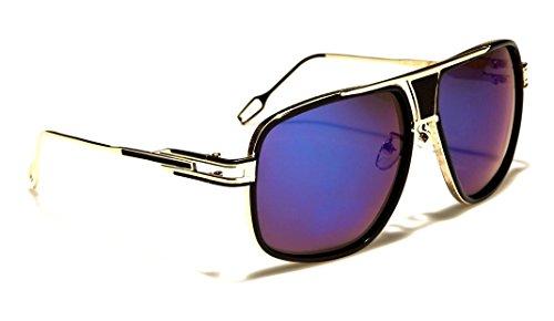 Gazelle Tycoon Aviator Sunglasses w/ Multicolor Lenses (Black & Gold, Blue Iridium - Sunglasses Gazelles