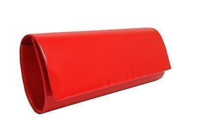 Red patent clutch bag foldover style high gloss handbag: Amazon.co ...