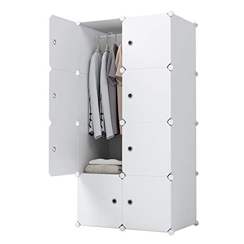 - KOUSI Portable Clothes Closet Wardrobe Bedroom Armoire Dresser Cube Storage Organizer, Capacious Customizable, White, 5 Cubes 1 Hanging Clothes
