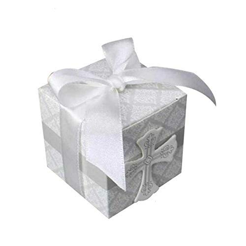 (LASLU Party Candy Boxes for Baptism 50pcs First Communion Favor Cross Candy Box Christening Baby Shower bomboniere wrap Holders with Ribbons (50pcs,)