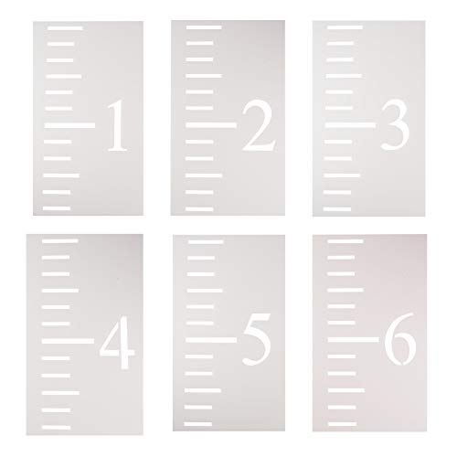 (WANDIC Growth Chart Stencil, 6 Pcs Translucent Kids Height Growth Chart Measuring Kids Height Wall Decor for DIY Craft Ruler Recording Kids' Height Growth)