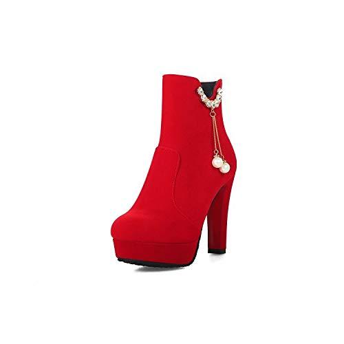 HRCxue Pumps Kurze Stiefel weibliche Seitenreißverschluss RotGold samt dick mit super hohem Temperament  | Großhandel  | Heißer Verkauf