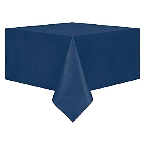 MyCuisna Décor Solid Tablecloths with Flannel Backing Size 60'' x 84''-PEVA Vinyl- Navy -