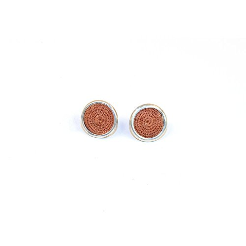 Fair Trade Sisal and Alloy Mini Classic Disk Bezel Stud Earrings, Copper, SJE56CP by Baskets of Africa