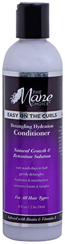 THE MANE CHOICE Easy On The Curls Detangling & Hydration Conditioner - Biotin, Avocado Oil and Vitam E to Clean, Nourish & Hydrate Your Curly Hair (8 Ounces / 230 Milliliters)