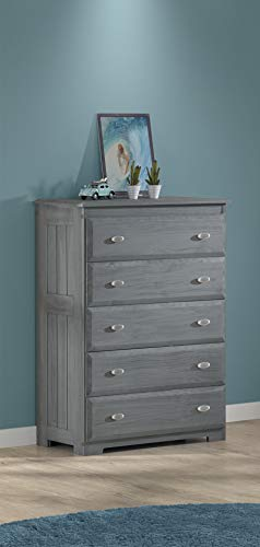 - American Furniture Classics 3255 Five Drawer Chest, Charcoal Grey