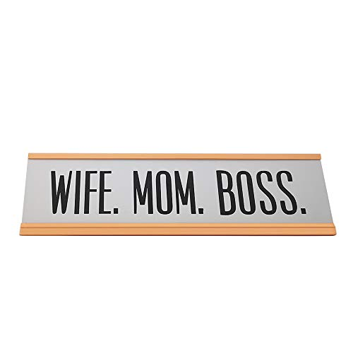Wife MOM BOSS Funny Desk Plate Sign (2