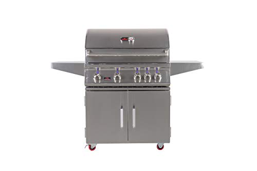 Bonfire 34-inch-4 burners propane gas grill with double doors cart, infrared rotisserie, led lights and cover (CBF4DD LP)