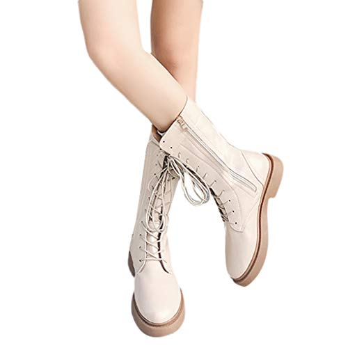 kaifongfu Low-Heeled Round Toe Shoes for Women Lace-Up Knight Boots Shoes(Beige,38)