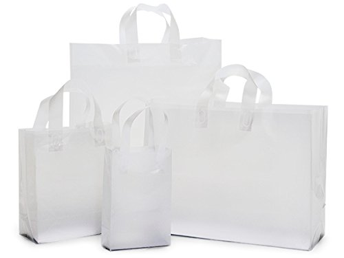 Pack Of 125, Assortment Solid Clear Frosted Plastic Shopping Bag 25 Rose (5X3X8