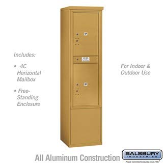 Salsbury 3913S-2PGFU 69-0.25 in. 13 Door High Unit Single Column Stand Alone Parcel Locker 2 PL6s Front Loading Free Standing 4C Horizontal Mailbox Unit44; Gold - USPS Access