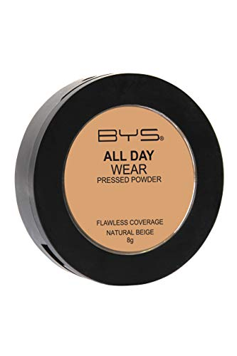 BYS All Day Wear Pressed Powder Natural Beige - flawless base lasts all day smooth blends seamlessly no cake or flake Argan Oil boost hydration antioxidant Vitamin E Hyaluronic Acid