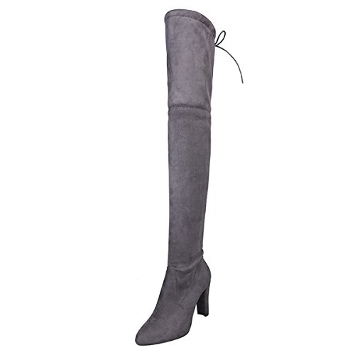 Thigh High Wide Womens Boots Side Zip Chunky High Heel Faux Suede Over The Knee Boots for Women ()