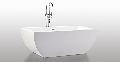 Kardiel HB-BT-VELIA-59-RO Velia Freestanding Contemporary Acrylic Bathtub, 59″, Whiterecta ...