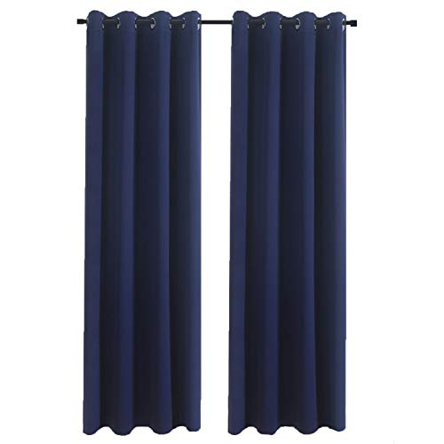 Aquazolax Grommet Blackout Curtains for Kids Room Blackout Curtain Panels 52x84 Inch Thermal Insulated Decorative Drapery for Bedroom, 1 Piece, Navy Blue from Aquazolax
