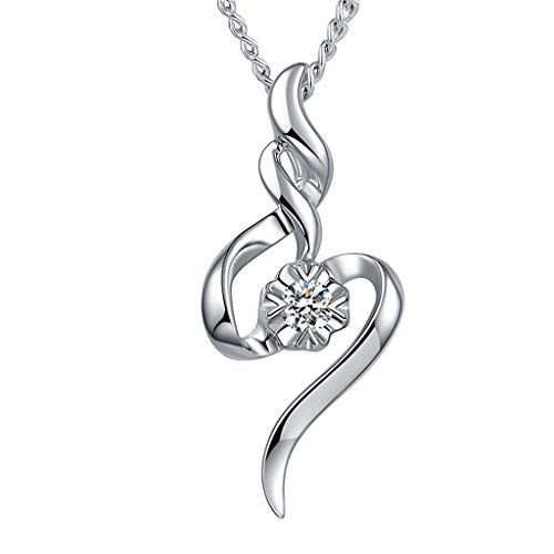 Caduceus Necklace, Snowfoller Creative Crystal Initial Necklace for Women Silver Plated Gem Rhinestone Pendant(Silver)