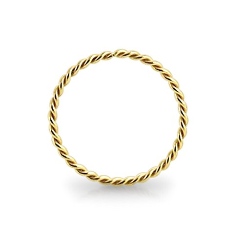 AtoZ Piercing 9KT Solid Yellow Gold 22 Gauge (0.6MM) - 5/16 (8MM) Length Seamless Continuous Twister Hoop Nose Ring Nose Jewelry