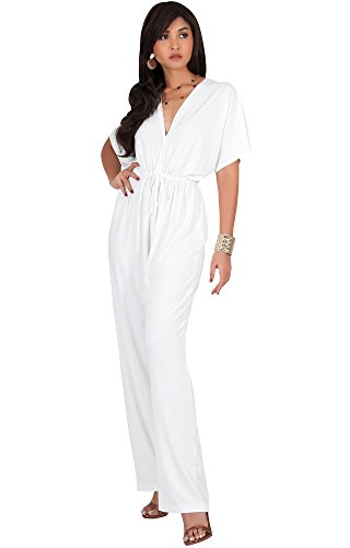 KOH KOH Women Short Kimono Sleeve V-Neck Casual Sexy Wide Leg Long Pants One Piece Jumpsuit Jumpsuits Pant Suit Suits Romper Rompers Playsuit, Ivory White L 12-14 (1) by KOH KOH