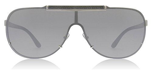 Versace Women's Greca Shield Sunglasses, Silver/Silver, One ()