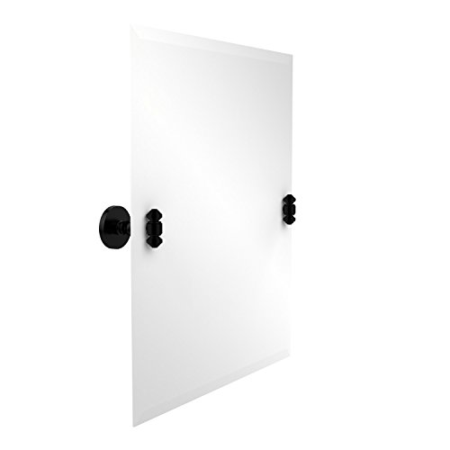 Allied Brass SB-92-BKM Frameless Rectangular Tilt Mirror with Beveled Edge, Matte Black