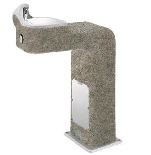 Concrete Pedestal Drinking Fountain - Haws 3177, Barrier-Free, Vibra-Cast Reinforced Concrete Pedestal Drinking Fountain