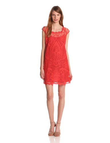 Nicole Miller Women's Placement Lace Shift Dress, New Terracotta, Large