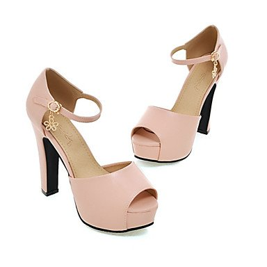 LvYuan Mujer-Tacón Stiletto-D'Orsay y Dos Piezas Zapatos del club-Sandalias-Oficina y Trabajo Vestido Informal-Semicuero-Negro Azul Rosa Blanco White