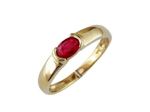 Milano Jewelers .55CT AAA Ruby 14KT Yellow Gold Classic Oval SEMI Bezel Anniversary Ring