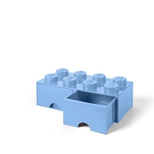 LEGO® ladrillo 8 pomos, 2 cajones, Azul Claro (Light Royal Blue), 1, 1