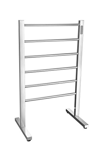 (ANZZI Kiln 35 in x 22 in x 14 in Modern 6-Bar Floor Electric Towel Warmer in Polished Chrome | Stainless Steel 65W Timer Heater Tower Drying Rack for Bathrooms and Spa | TW-AZ068CH)